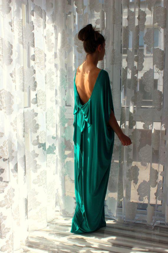 Green Open Back Maxi Oversized Long Elastic by cherryblossomsdress
