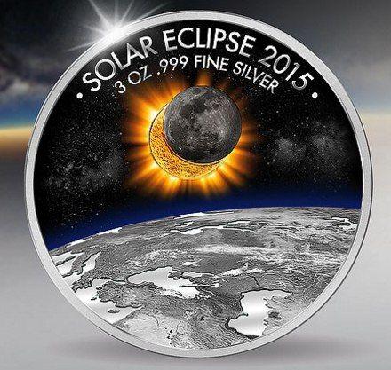 подарок монета Солнечное затмение Буркина Фасо  1500 франков Серебро