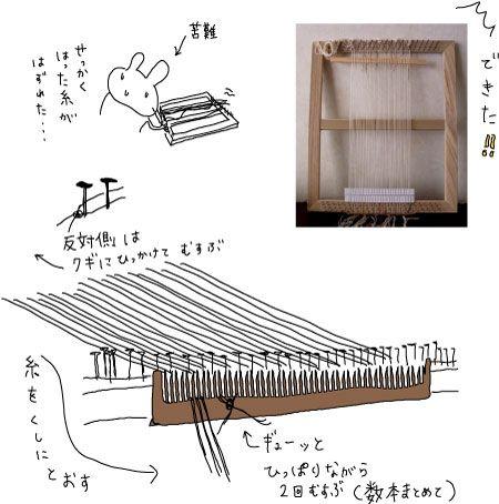 手作り織り機できあがり〜 縦糸も張りました!  手作り織り機は、縦糸をピンと張るのが大変です。 百均で買って来た櫛に糸を通し、結んで固定します...