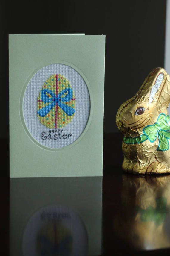 Easter cards, easter Eggs, easter gifts, handmade Card, paper & party supplies, cross stitch card, easter bow