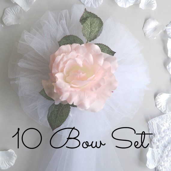 Blush Rose Wedding Pew Bows-Pew Bows  ✰✰(¯`*•.¸,¤°THIS LISTING IS FOR A 10 PIECE SET°¤,¸.•*´¯)✰✰ THIS IS A 10% BULK DISCOUNT OFF OF THE INDIVIDUAL BOW PRICE!  The rose is said to symbolize balance. The magnificence of this blossom is that it conveys promise, trust, and new beginnings. You can add a touch of balance to your new journey with these perfect Blush Rose Flower Wedding Pew Bows!  Place this bow on church pews, benches, chairs, arches, doors, or any area you would like to highli...