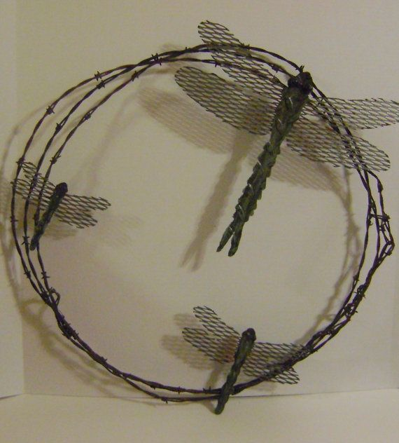 Metal Garden Art Dragonfly Barbwire Wreath