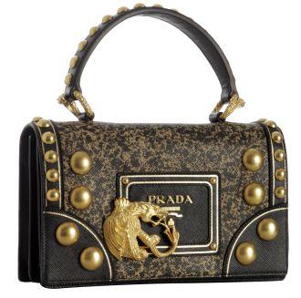 Prada Black Crosshatched Leather Studded Dragon Handbag   Prada ...