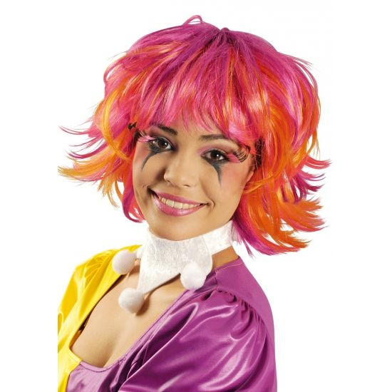 Roze en oranje Pixie pruik  Roze en oranje Pixie pruik. Pruik met roze en oranje accenten. Wilde korte coupe met pony.  EUR 9.95  Meer informatie