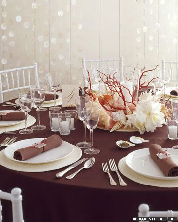 Seascape Centerpieces  Create an elegant summer table with sculptural shells and corallike pieces.  Get the How-To