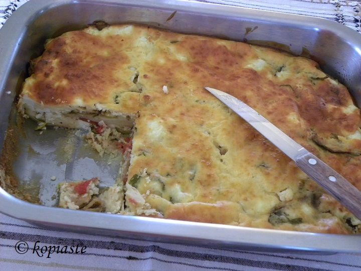 Chaniotiko Boureki is a casserole dish with potatoes and zucchini.