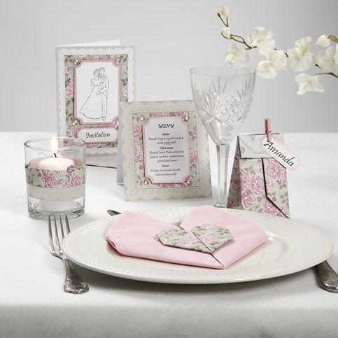 13412 Kaartenserie met roze parelmoerkarton en strasstenen