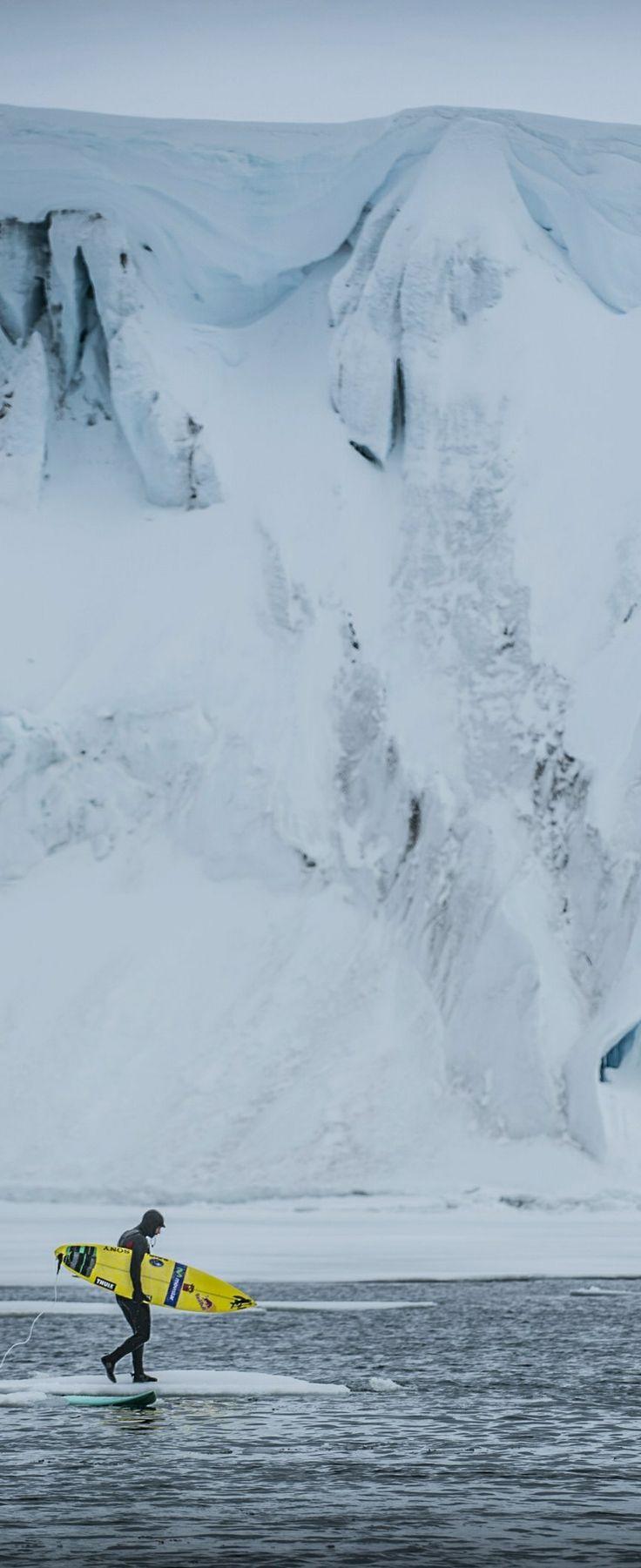 Cold front. Ramon Navarro is Surfing Antarctica. #surf #snow #damncold  Image: Alfredo Escobar