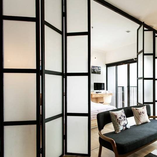 Folding doors as room divider