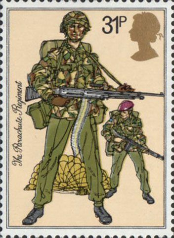 British Army Uniforms 31p Stamp (1983) Paratroopers, The Parachute Regiment (1983)