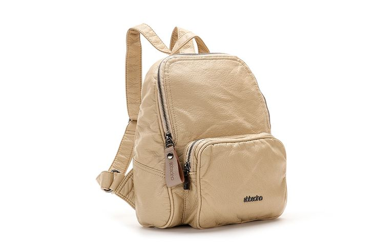 Small, very adaptable zip top bonded leather rucksack. It has two straps so that you can carry it on your back along with another very practical smaller strap. It is the ideal companion for an urban woman, 24 hours a day.