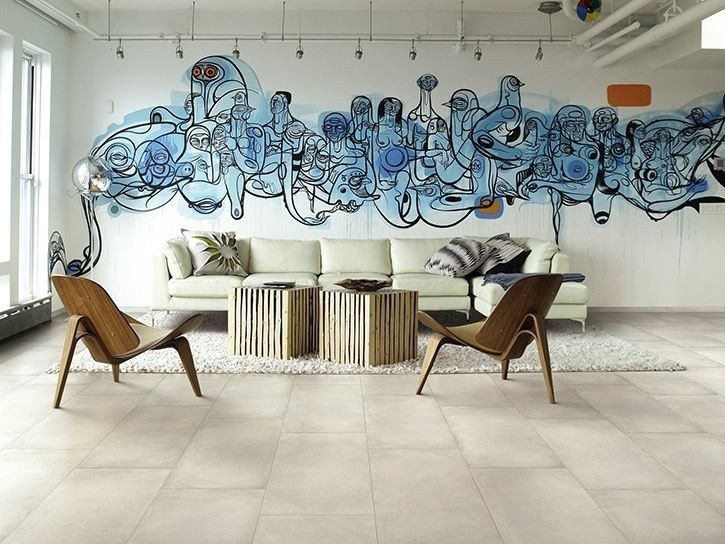 Porcelain stoneware wall/floor tiles with concrete effect, design byCerdomus Lab