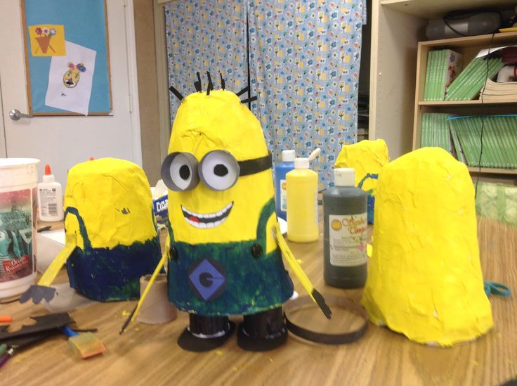 Making paper mâché Minions, this was a long process but I had good helpers. I love messy creative time with results that make my student feel excited and proud of what they've created! Summer camp 2014
