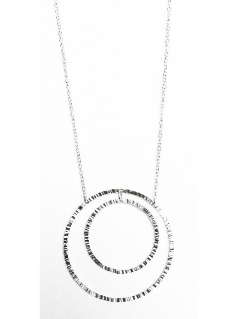 Double Circles Necklace - Sterling Silver