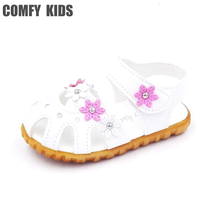 Comfy kids 2017 summer child girls sandals shoes size 21-25 flat with flower soft bottom baby girls sandals shoes for girls