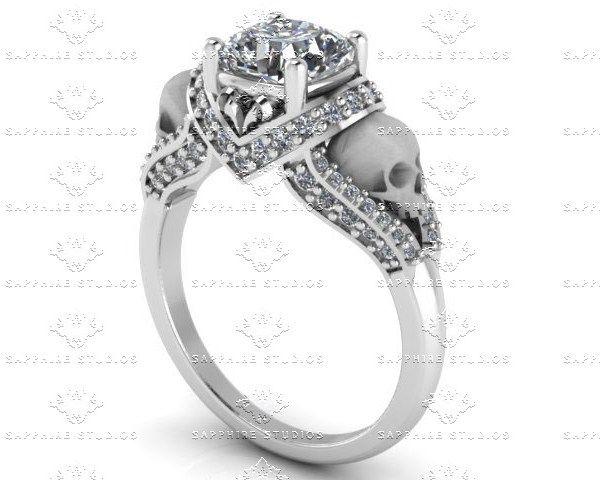 'Amora' 1.65ct White Diamond Sterling Silver Skull Engagement Ring