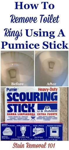 How to remove toilet rings using a pumice stick, and why you should too. It's frugal, eco-friendly and it works! {on Stain Removal 101}