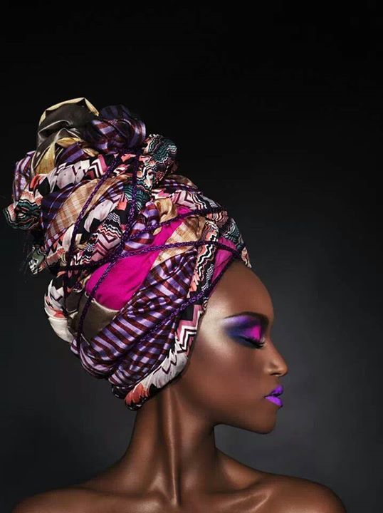 This head wrap was not wrapped with kente African cloth but with regular cloth…