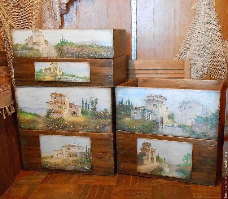 """Купить """"Тосканские пейзажи Лусиано Торси"""" ящики для открытого стеллажа - коричневый, ящик для хранения"""