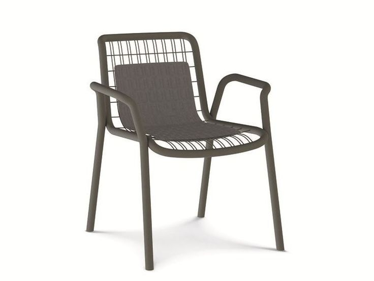 Stackable metal garden chair with armrests STITCH by Ethimo
