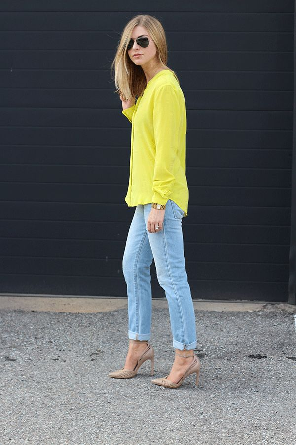 Blouse: Equipment (old; similar here PLUS see my picks for stand out yellow styles below) // Jeans: Gap // Heels: Dolce Vitaalso here (flat version here& here) // Watch: Dolce & Gabbana (old; similar here) // Bracelet: Coordinates Collection (similar...