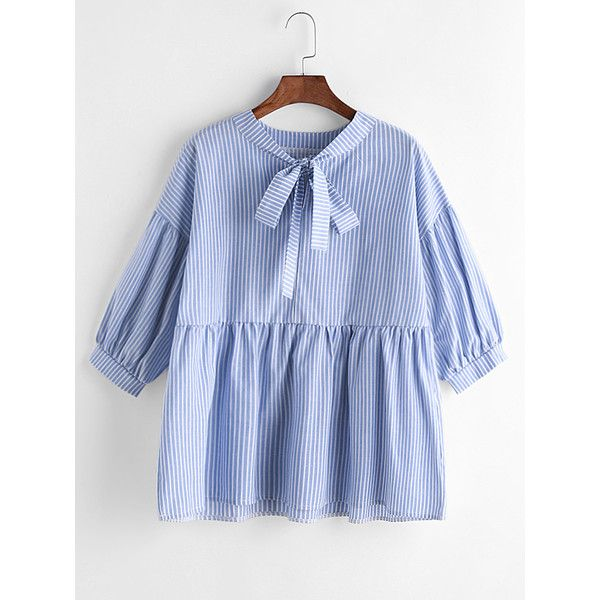 Blue Vertical Striped Bow Tie Neck Peplum Blouse featuring polyvore women's fashion clothing tops blouses peplum tops tie neck tie neck ties blue top bow tie neck blouse