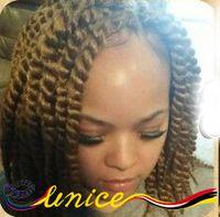 "African Hair Braiding Blonde Goddess Braids 12"" 14"" 16"" Short Havana Mambo Twist Crochet Hair Extensions Synthetic Hair 3pcs"