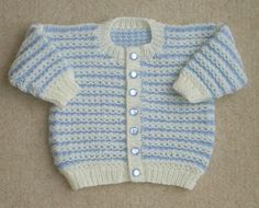 Hand Knitted Baby boy Cardigan jacket Blue & Cream 3-6 months
