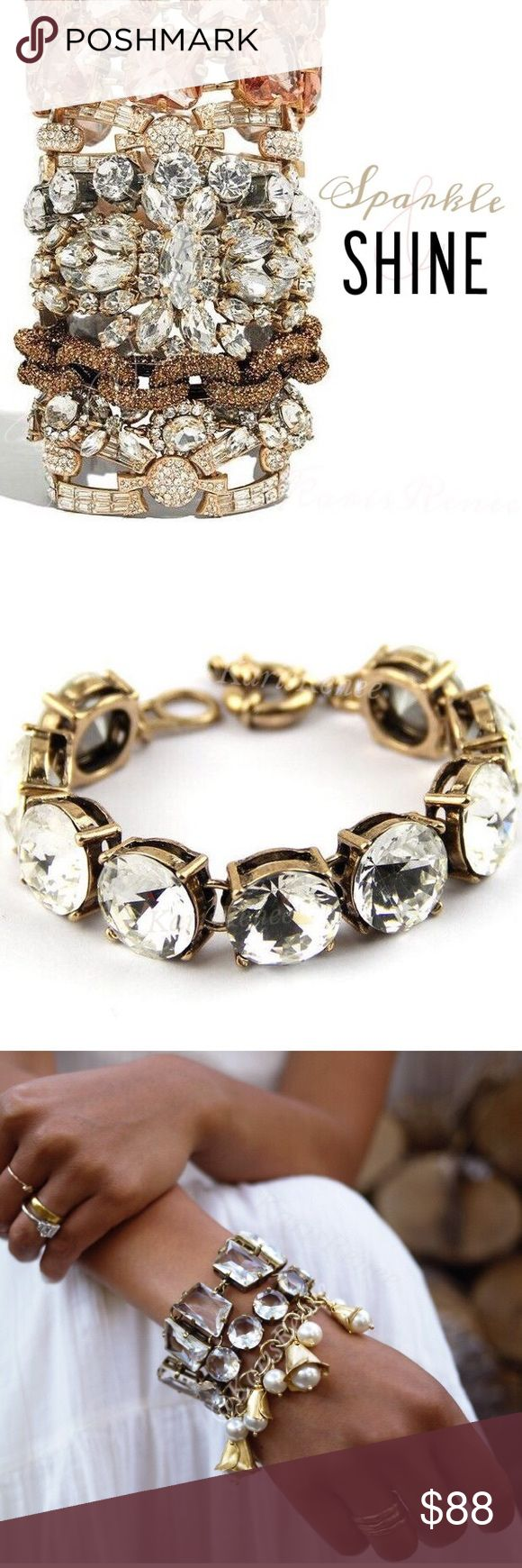 Jewelry | J.Crew Clear Crystal bauble bracelet Clear round stone bracelet // brand new // excellent condition // never worn // classic jcrew antique gold base // please ask about other colors! // nwot // I also have sky blue and lemon in this style, I believe! (Those are not from jcrew & would be priced lower w shiny gold base) // Bracelet is one size fits all with adjustable clasp closure & jcrew metal tag + signature crystal stone for authenticity Other xoxo bracelet seen in first & final…