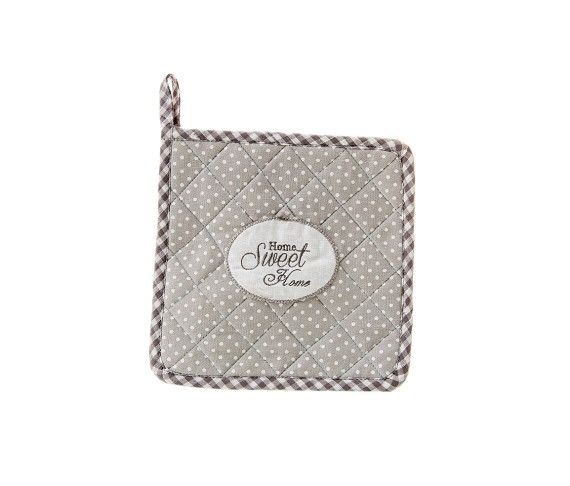 6,10 € - Presina da Forno Home Sweet Home, stile Shabby Chic, realizzato in stoffa, simpatica idea per bomboniera matrimonio, cm. 20x20.