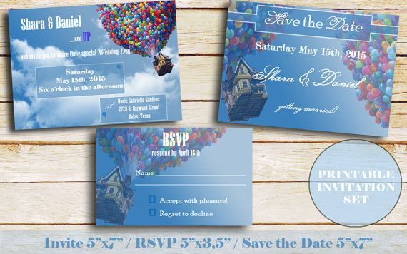 Up Wedding invitation Save the Date and rsvp by ElfsWorkshopDesign