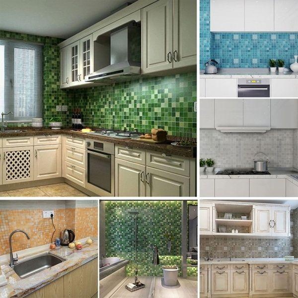 45x200cm Mosaic Aluminum Foil Self Adhensive Anti Oil Wall Paper Sticker Kitchen Wish Kitchen Mosaic Kitchen Wallpaper Trendy Home Decor