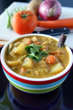 A versatile Indian vegetables and coconut gravy that goes well with most of the Indian entrees like biryani, pulav, puri, chapati, idli, dosa, etc.