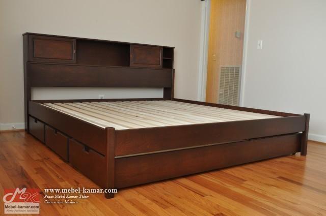 tempat tidur jati minimalis laci sorong