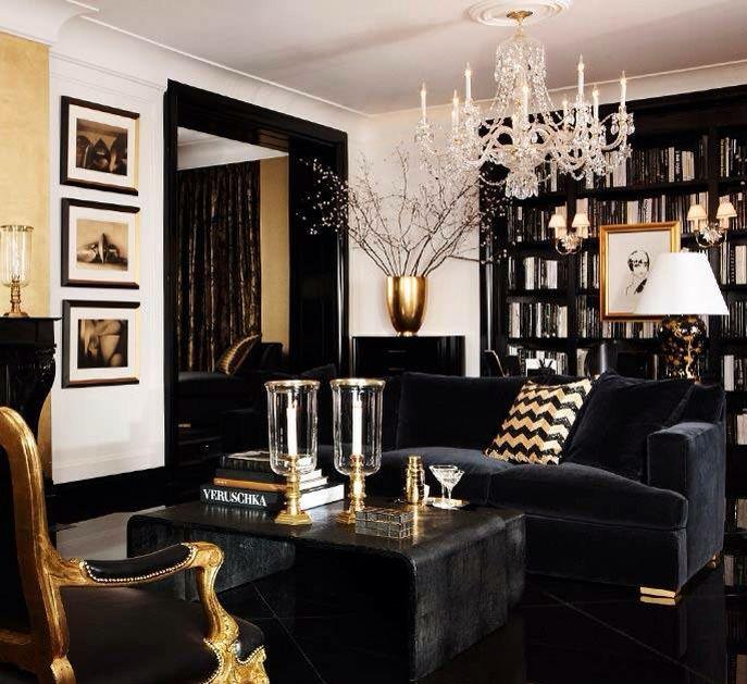 Classic black lounge room