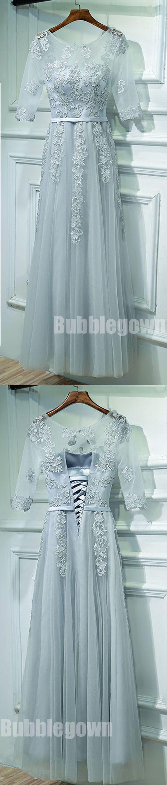 Half Sleeves Formal Tulle Applique Popular Long Prom Dresses, BGP015 #promdress
