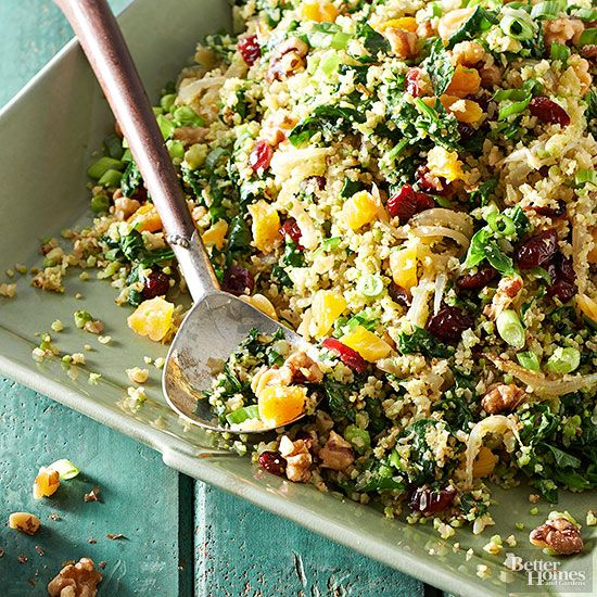 For a lower-carb and gluten-free option to traditional couscous, try your hand at this cauliflower version. When paired with baby spinach, walnuts, and dried fruits, the recipe gives you a healthy side dish loaded with nutrients, including 4 grams each of fiber and protein.