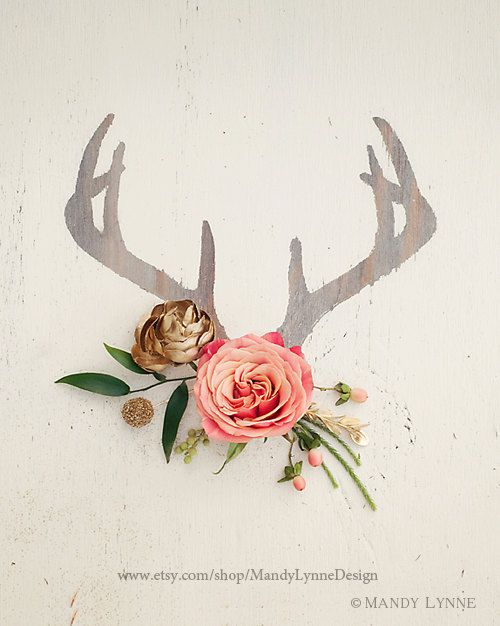 Antler+Floral+++8x10+art+print+by+MandyLynneImagerie+on+Etsy,+$30.00