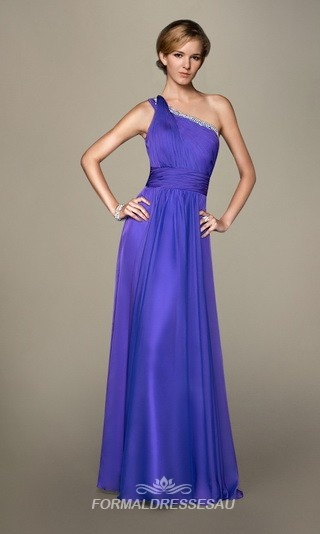 Floor length one shoulder ruched Natural Waistline Formal Dress PLLD004