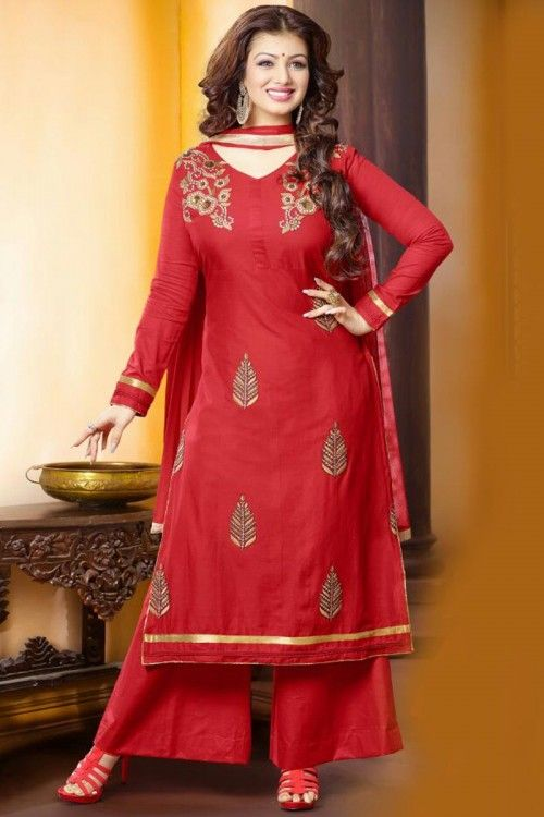 Diya collection, Trouser cotton long suits, Red  embroidered andaaz wedding wear now in shop. Andaaz Fashion brings latest designer ethnic wear collection in UK   http://www.andaazfashion.co.uk/salwar-kameez/trouser-suits/bollywood-actress-red-cotton-trouser-suit-with-dupatta-dmv14112.html