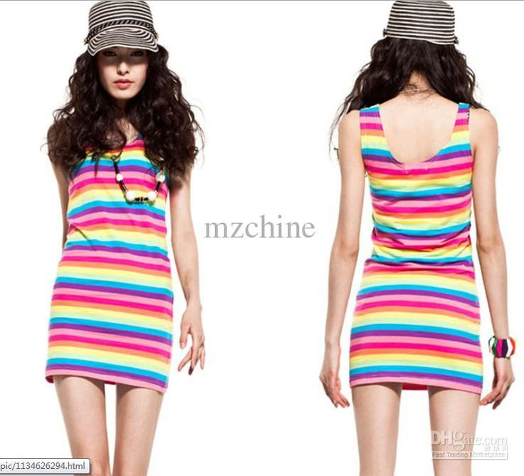 2013 Fashion Ladies' Summer Bright Rainbow Stripped Slim Tank Dress Vest Casual White Lace Dress White Dress With Flowers From Mzchine, $5.55| Dhgate.Com