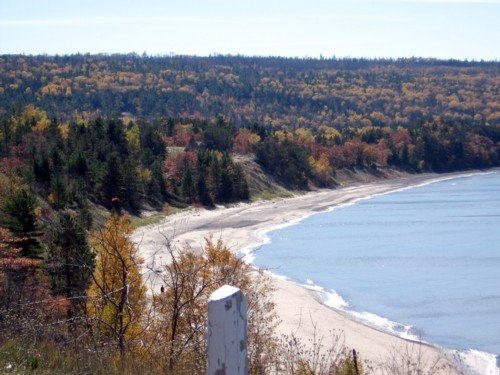 Great Sand Bay is between Eagle River and Eagle Harbor in Michigan's Upper Peninsula in the Keweenaw Peninsula, miles of beach and stones.