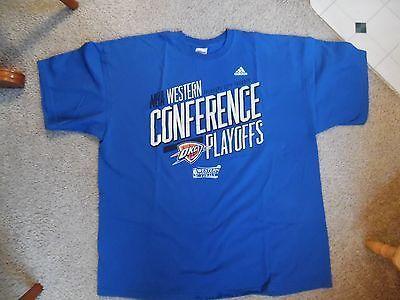 NBA Oklahoma City Thunder Western Conference Playoffs Mens 2XL Shirt 100% Cotton