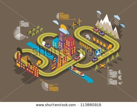 stock vector : Colorful isometric city, vector background, ecology info graphics