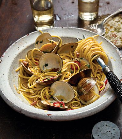 Linguine with Clams and Chiles - makes me hungry for a beach trip.