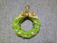 指編みクリスマスリースの作り方