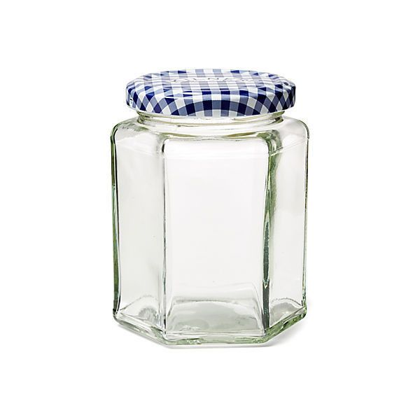 S/6 Blue Check Jars ($18) found on Polyvore