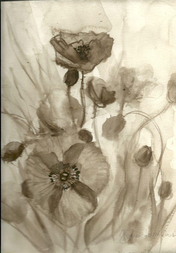 watercolor, sepia by Joanna Lazuchiewicz