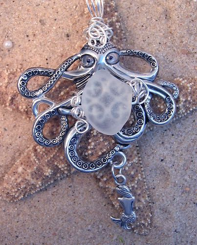 Artisan Octopus Mermaid, Surf Tumbled Seaglass, Nautical Handmade Wire Wrapped Crafted by #TexasWoman #kcTexas and on eBay