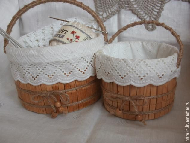 I want to show you how to make a basket for needlework from clothespins. It can be used for knitting or storing small items - buttons, thread, etc. Materials needed: - empty plastic paint jar - wooden clothespins - sandpaper - white spirit - glue - jute twine - cloth - thread for sewing - lace - scissors - for decoration - wooden beads - sewing machine Let's start: 1.